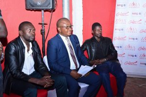 From Left to Right: Galaxy FM Station Manager Ashraf Ajobe Habib, MD Dr. Innocent Nahabwe and Director Robert Itwara Busingye at the Launch of Zzina Awards