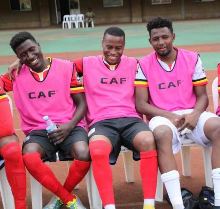 Kakuba (M) on Cranes bench with Ndugwa (L) and Salim Jamal (R)