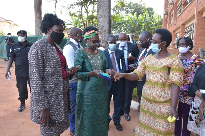 Ministers Anite, Dr Aceng and Health PM Dr Atwine at the launch of the mask distribution in Kampala